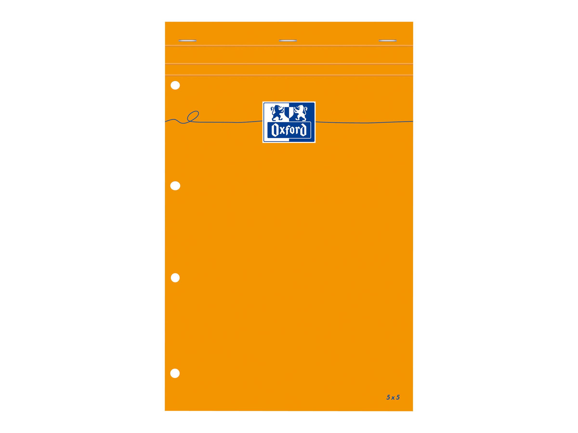 Oxford - Bloc notes - A4 + - 160 pages - petits carreaux - 80G - perforé - orange