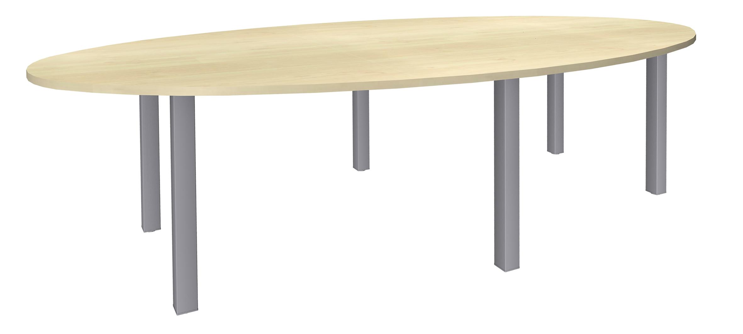 Table de réunion ovale - L280 cm - pieds exprim alu - Plateau imitation érable