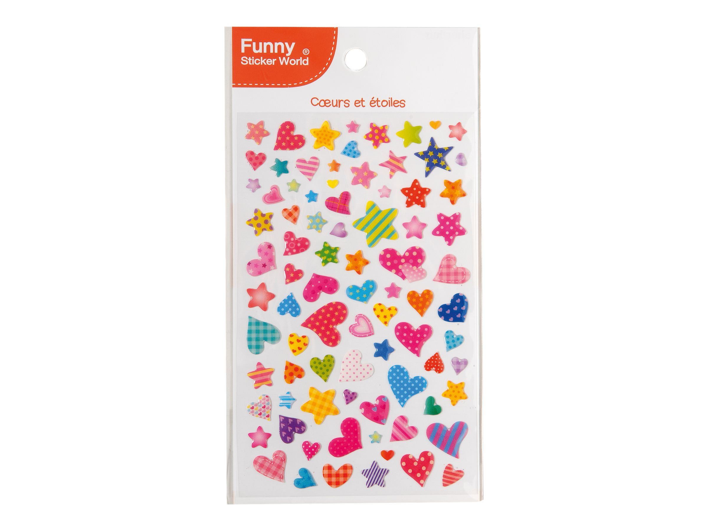 Oberthur Funny Sticker World - Stickers - cœurs et étoiles