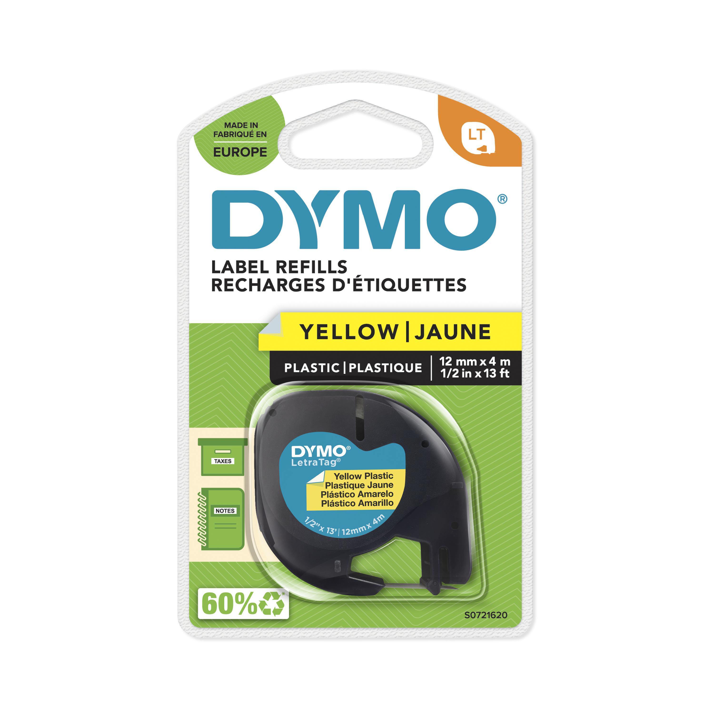 Dymo LetraTAG - Ruban d'étiquettes plastique auto-adhésives - 1 rouleau (12 mm x 4 m) - fond jaune écriture noire