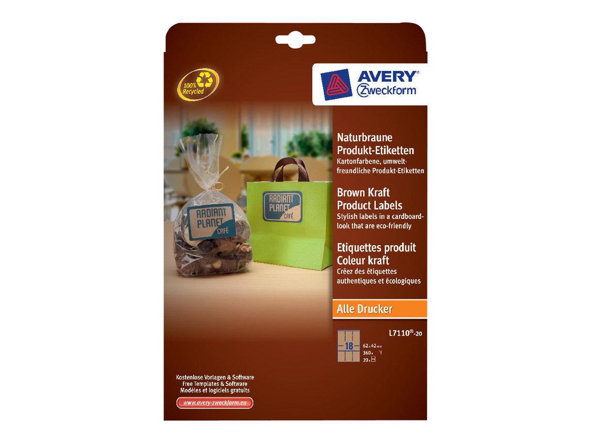 Avery - 360 Étiquettes adhésives kraft - 62 x 42 mm - réf L7110-20