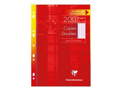 Clairefontaine - 200 copies doubles A4 - grands carreaux (Seyes) - perforées