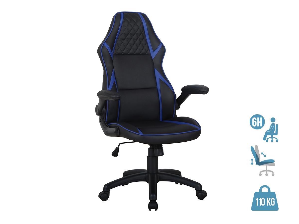Fauteuil gamer RACER SPEED - accoudoirs rabattables - Noir et bleu