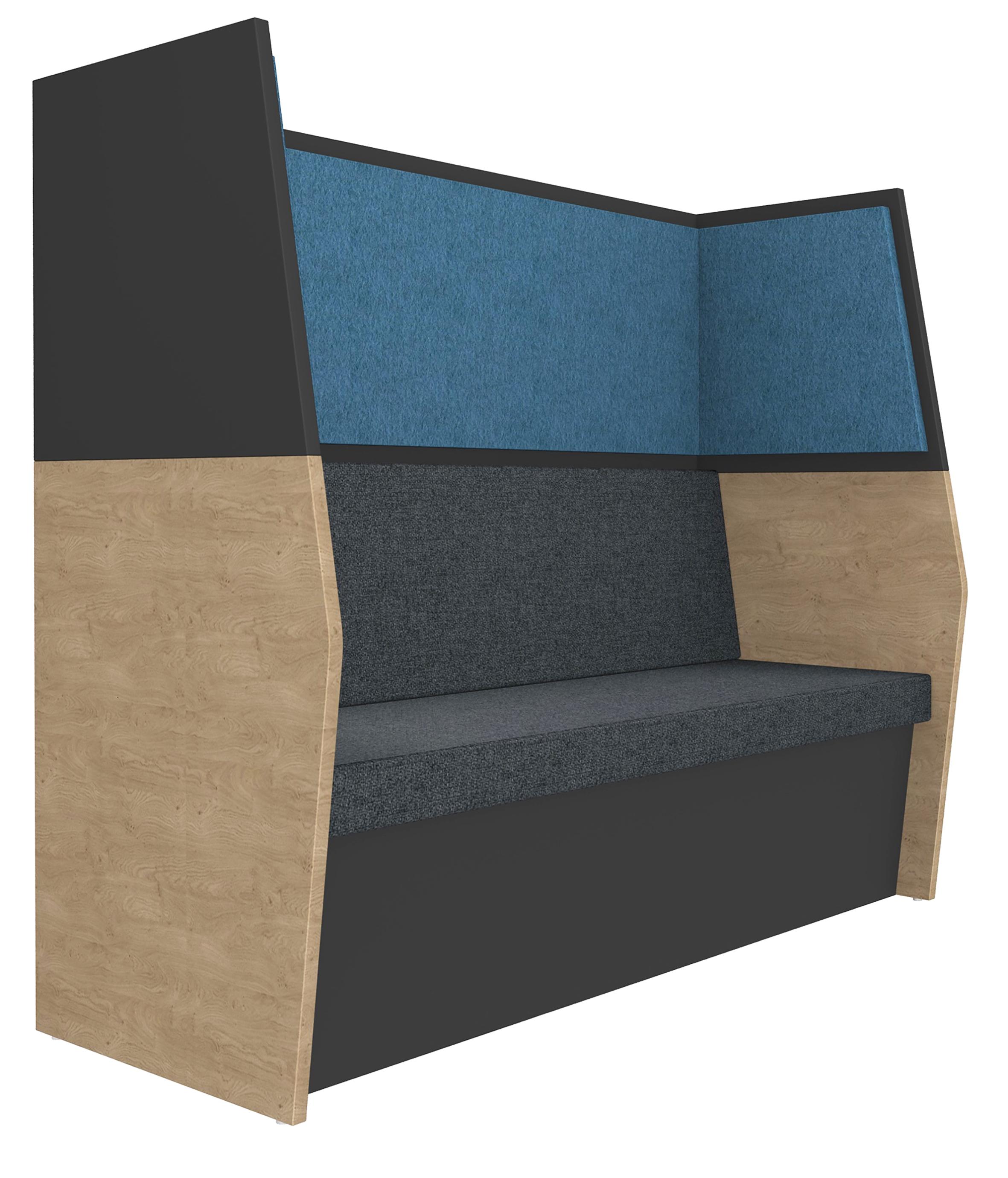 Banquette acoustique IN'TEAM - L170 x H 150 x P170 cm - 3 places - structure chêne clair et carbone - panneaux bleu chiné