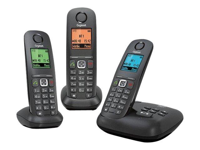 Gigaset A540A Trio - téléphone sans fil - avec répondeur + 2 combinés supplémentaires - noir