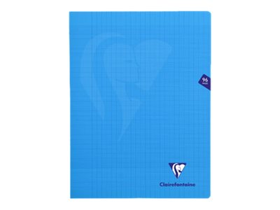 Clairefontaine Mimesys - Cahier polypro 24 x 32 cm - 96 pages - grands carreaux (Seyes) - bleu
