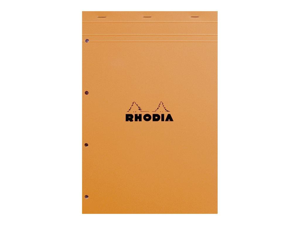 Rhodia Basics - Bloc notes - A4 - 160 pages - grands carreaux - 80g - orange