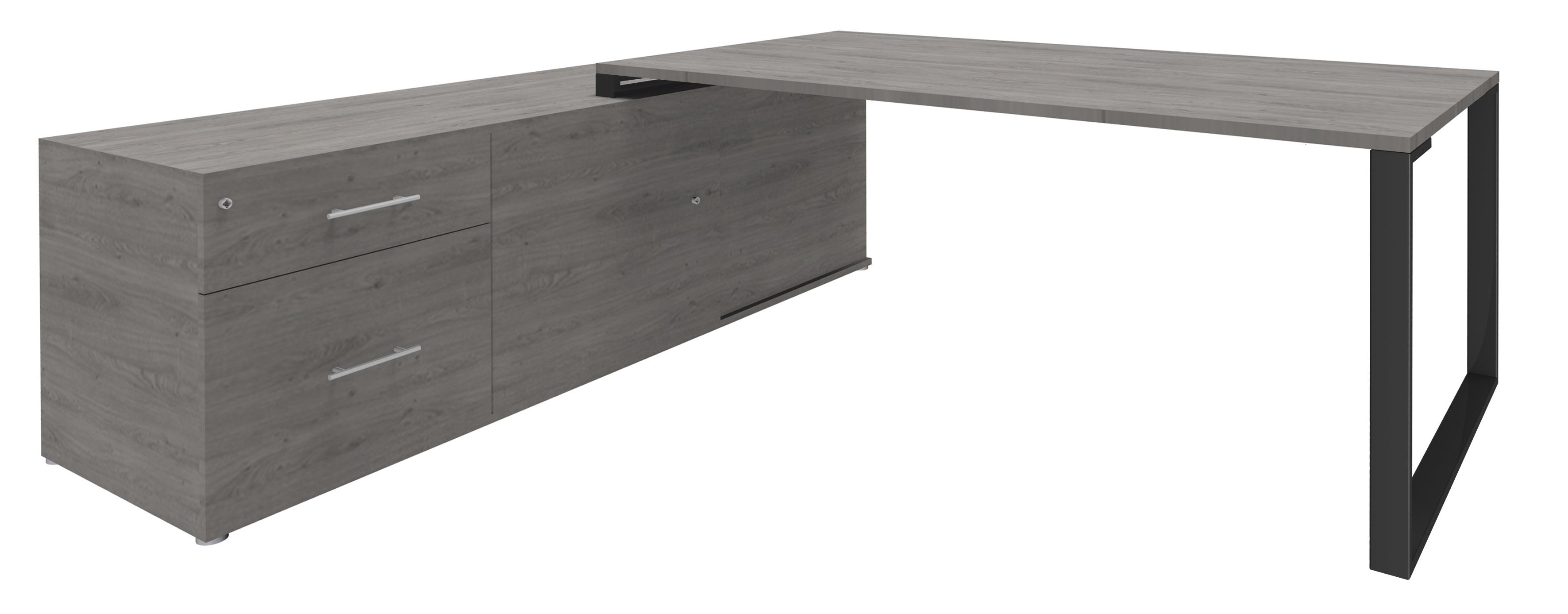 Bureau URBAN Manager - L180 x P100 x H72,5 cm - console retour à gauche (tiroirs) L200 x P60 x H72,5 cm - pieds carbone - plateau imitation chêne gris