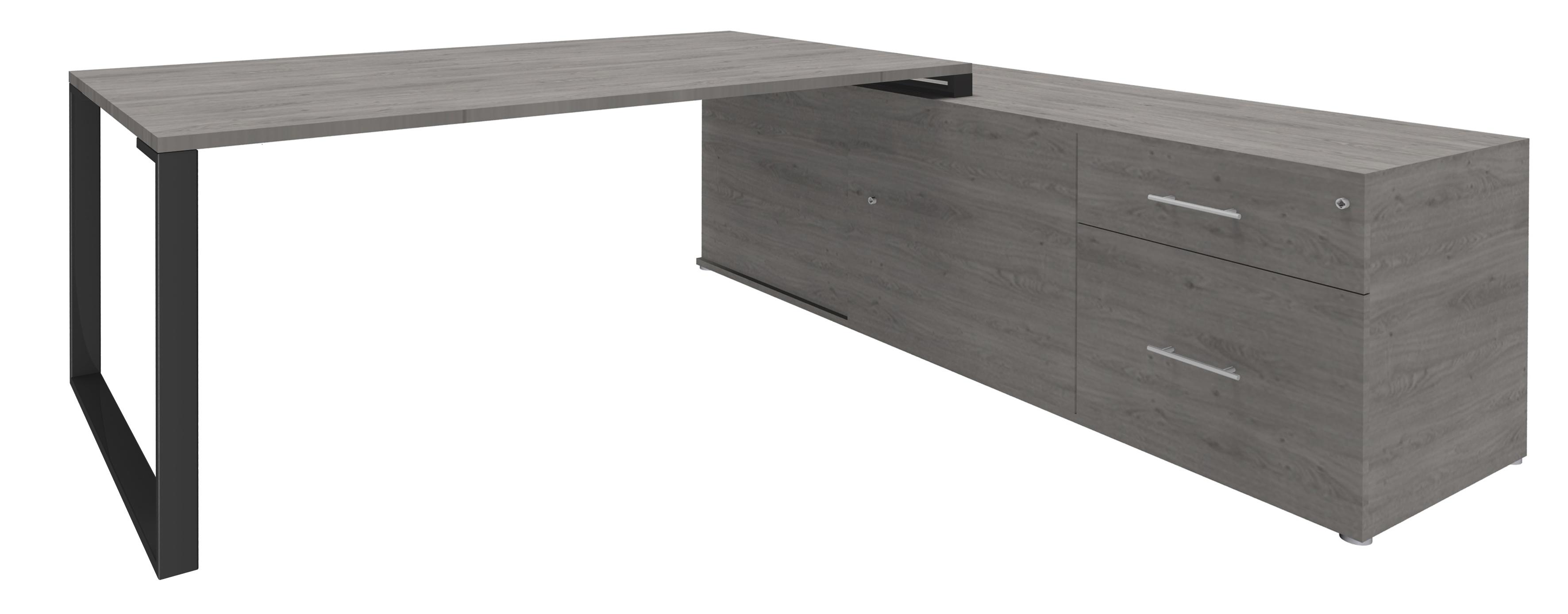 Bureau URBAN Manager - L180 x P100 x H72,5 cm - console retour à droite (tiroirs) L200 x P60 x H72,5 cm - pieds carbone - plateau imitation chêne gris