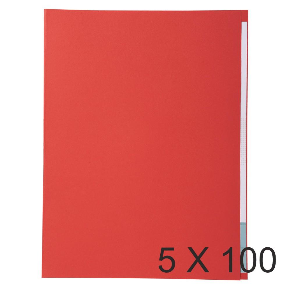 Exacompta Forever - 5 Paquets de 100 Chemises à bord décalé - 170 gr - rouge