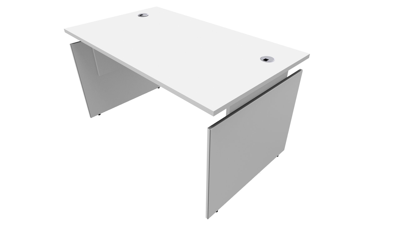 Bureau INEO - Réglable en hauteur - L140 x H74/78/82 x P80 cm - Pieds blanc - plateau blanc - Entretoise Blanc