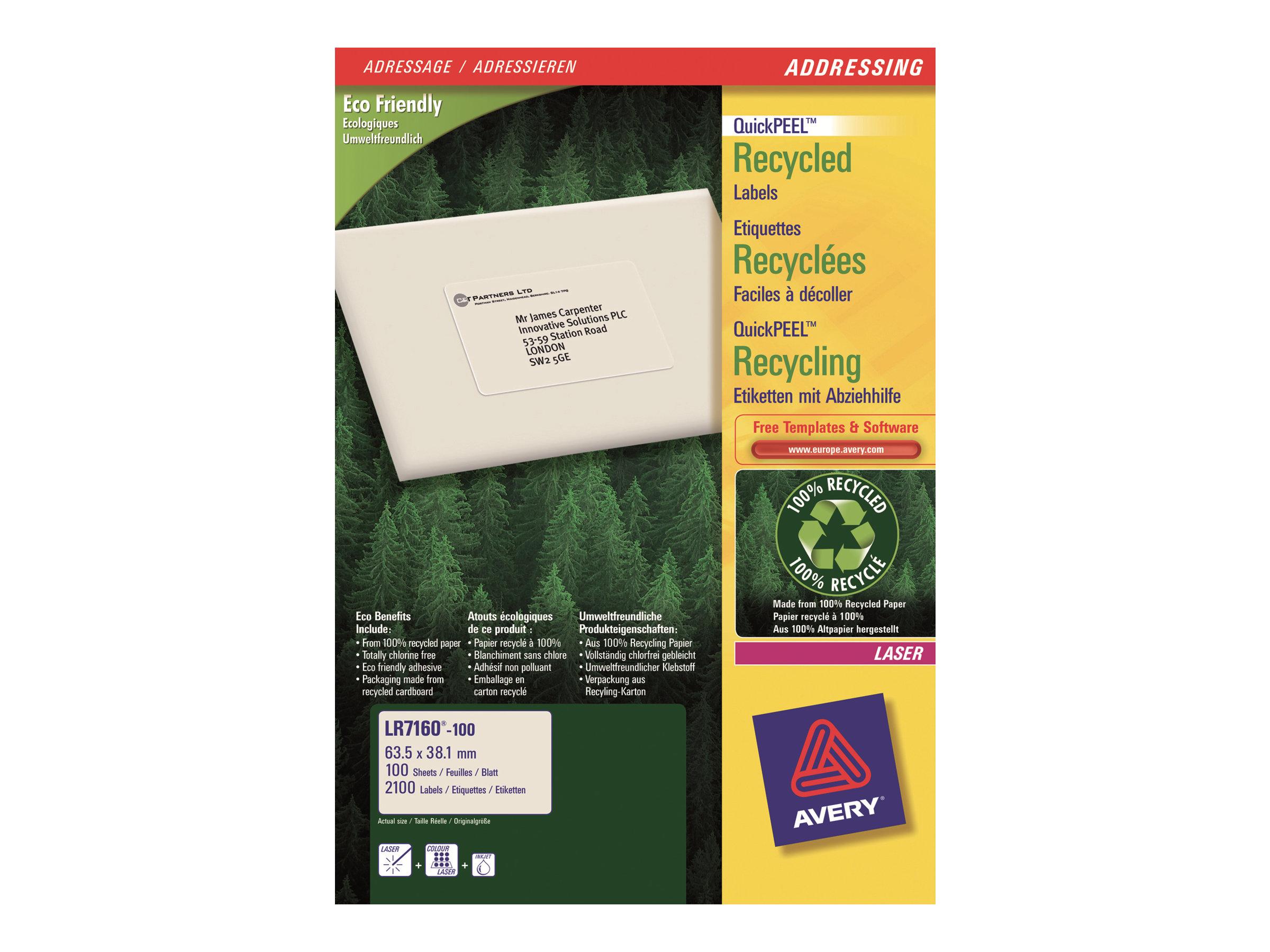 Avery - 2100 Étiquettes adresse recyclées blanches - 38,1 x 63,5 mm - Impression laser - réf LR7160-100