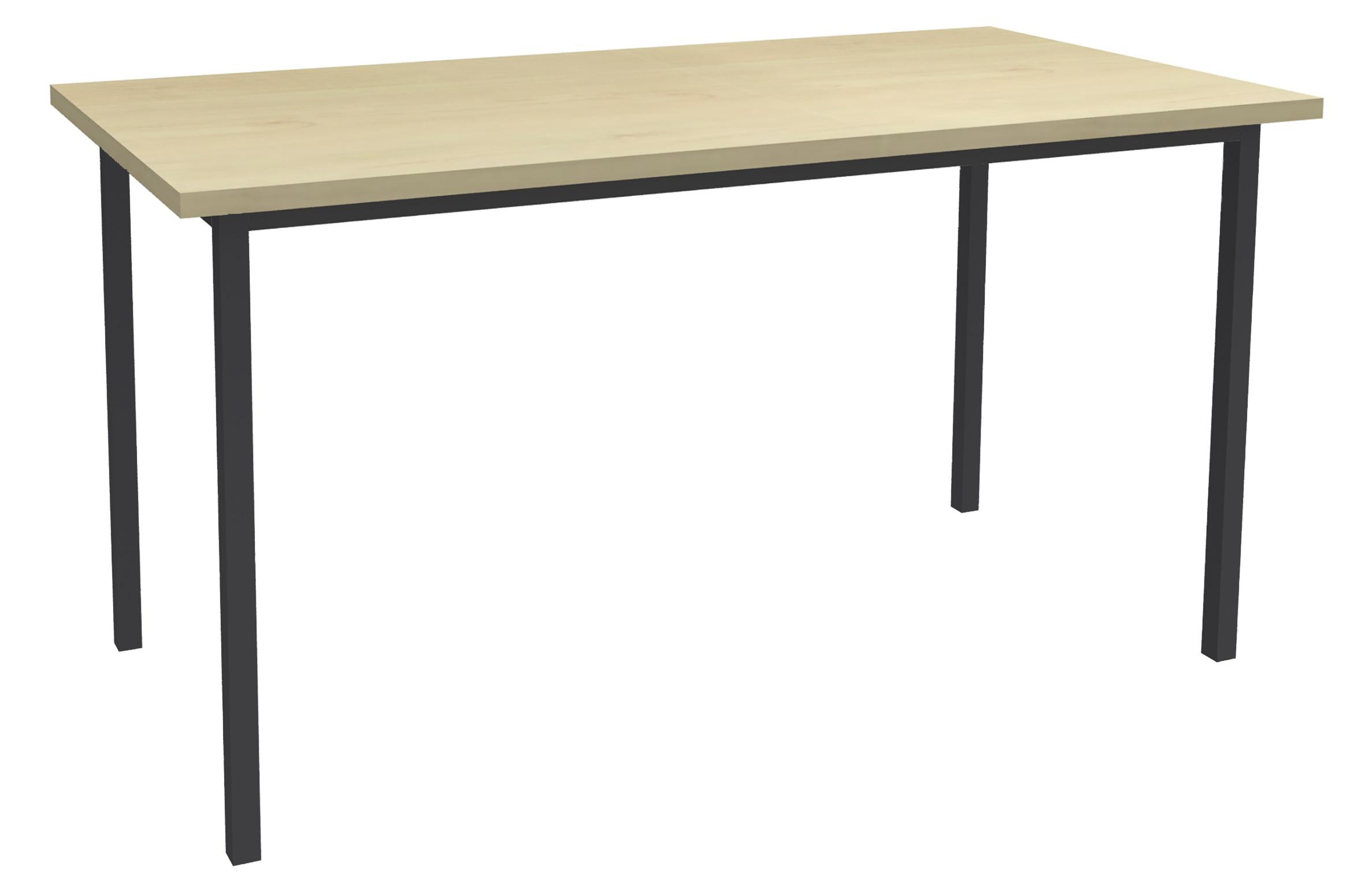 Table de réunion Rectangulaire - 120 x 60 cm - Pieds anthracite - imitation érable