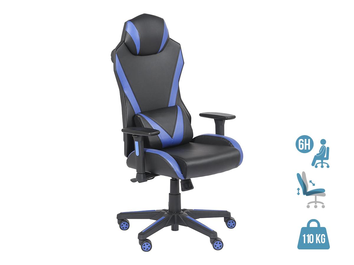 Fauteuil gamer ONLINE - accoudoirs réglables - enceintes intégrées - Noir et bleu